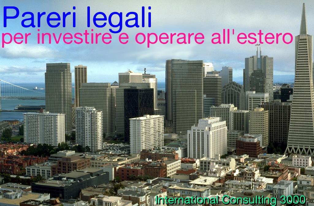 parere legale investimento estero esportazione, contratti legge straniera